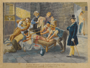 Acquerello anonimo dell'amputazione a Piero Maroncelli (Museo Risorgimento Milano)