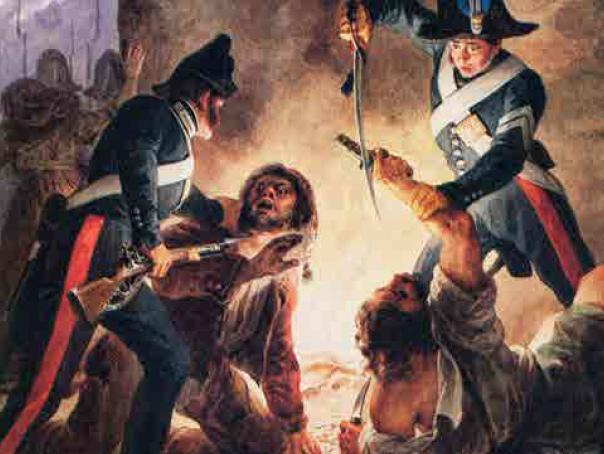 Cattura di briganti da parte di Carabinieri. Acquerello di Francesco Gonin (1836) - Biblioteca Reale Torino
