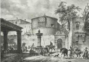 Veduta della Castiglia del 1837, poco dopo la ristrutturazione a carcere (COLLEZIONE BERTARELLI MILANO)