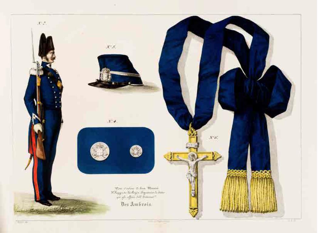 Uniforme e decorazioni della divisa dei funzionari e delle guardie carcerarie del Regno di Sardegna(1847)