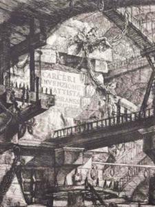 Particolari della tav. I delle Carceri d'invenzione nei quali si fa riferimento ai prigionieri incatenati nelle fortezze della relegazione premoderna o a pene corporali come quella della ruota. (Archivio privato)