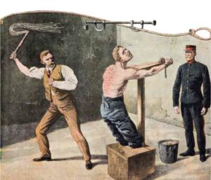 Punizione di un detenuto in un carcere inglese all'inizio del Novecento (Archivio Cesare Burdese)