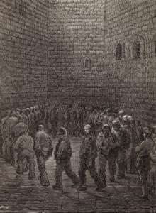 Newgate: il cortile dell'aria, incisione di Gustav Doré (1872)