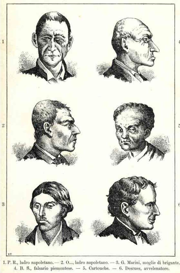 """Tipologia di criminali da """"L'uomo delinquente"""" di Cesare Lombroso (1876) MUSEO DI ANTROPOLOGIA CRIMINALE CESARE LOMBROSO TORINO"""